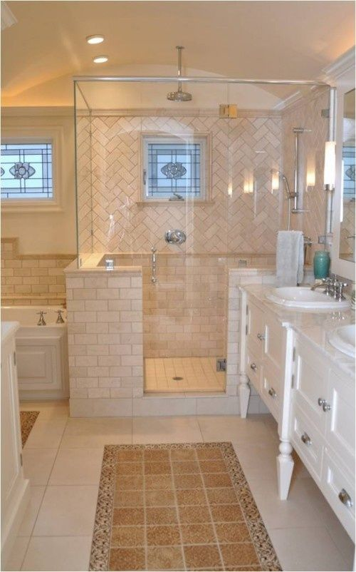 Herringbone Pattern Tile In Shower Bathroom Renovations