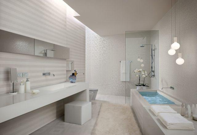 Leicht Glänzende Badezimmer Fliesen Weiß Grau Ornamente Deckenlicht