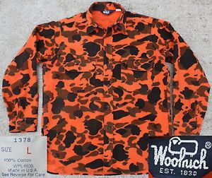 09a6261662d6a Vtg Woolrich Made in USA Safety Orange Camo Hunting Fishing Chamois Shirt L
