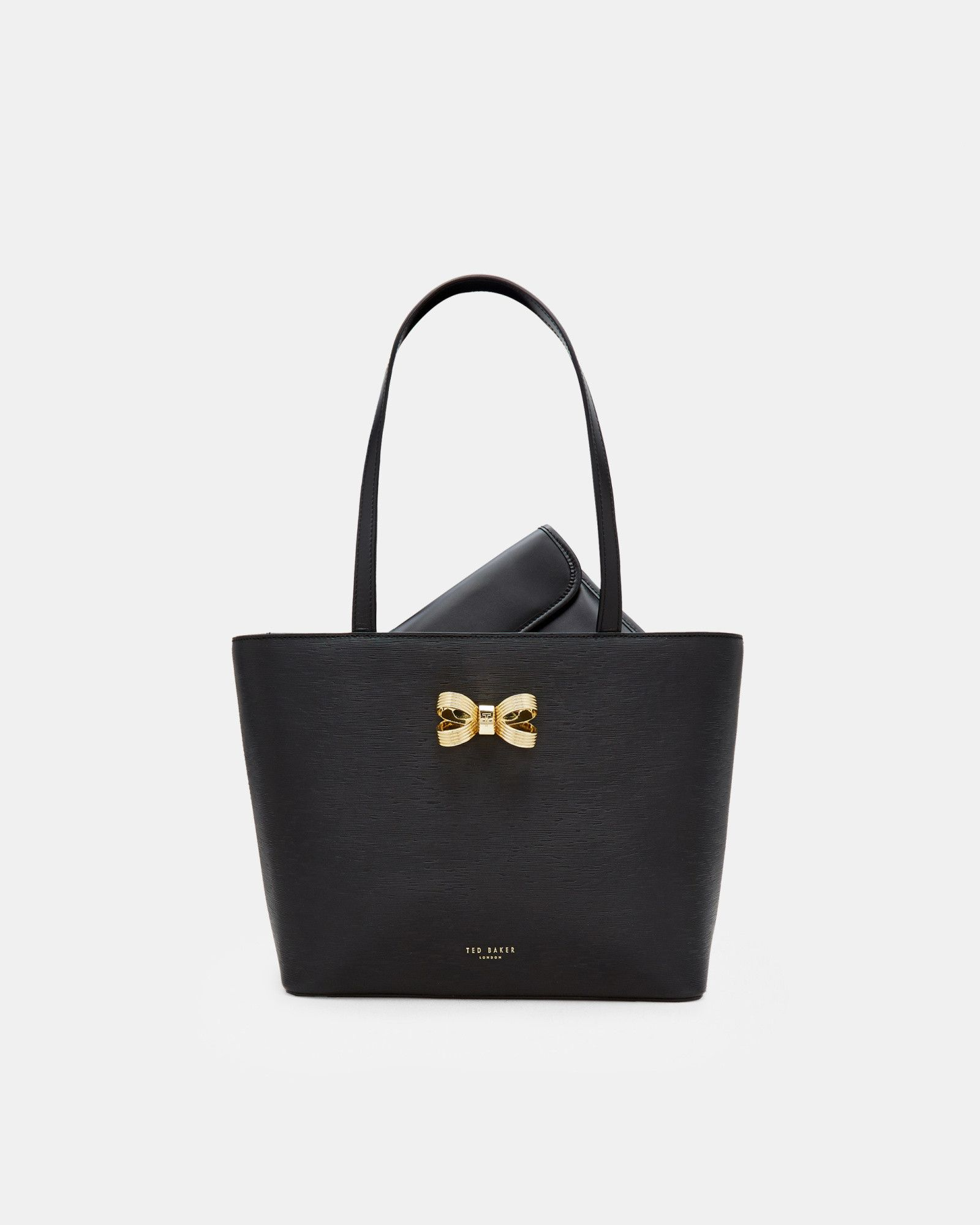 2de6141be6b Ted Baker Loop bow small leather shopper bag Black | Products in ...