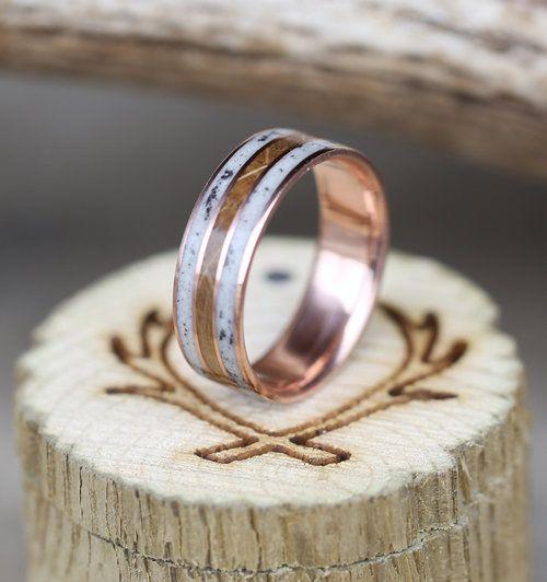 10k rose gold mens wedding ring featuring whiskey barrel oak