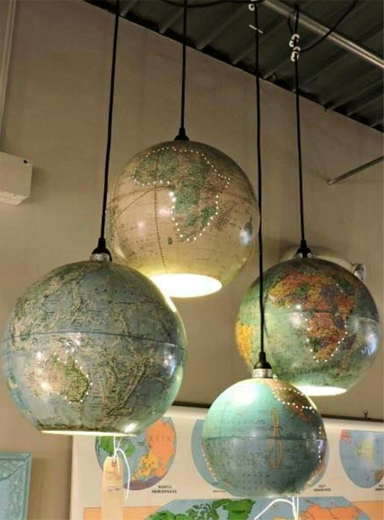 Up-cycled globe pendant lamps.... great idea for kid's room or study area More