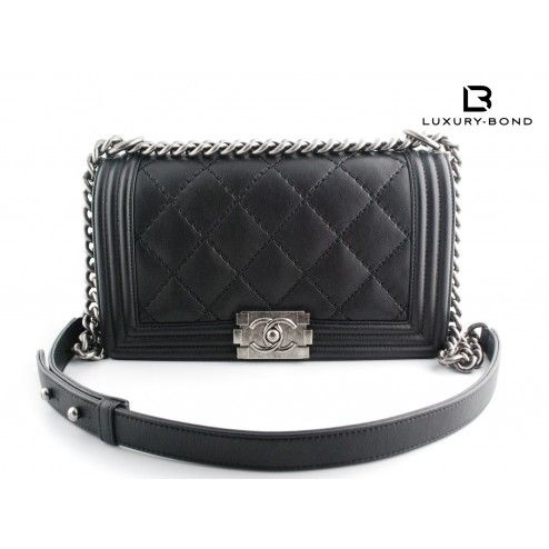 ebde86e1b50f Chanel Le Boy Old Medium Size Black Flap Bag -Ruthenium Metal Hardware  -Large Double Stitch Quilting -10
