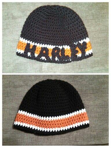 Harley Davidson Crochet Mens Beanie I Made For My Boyfriend
