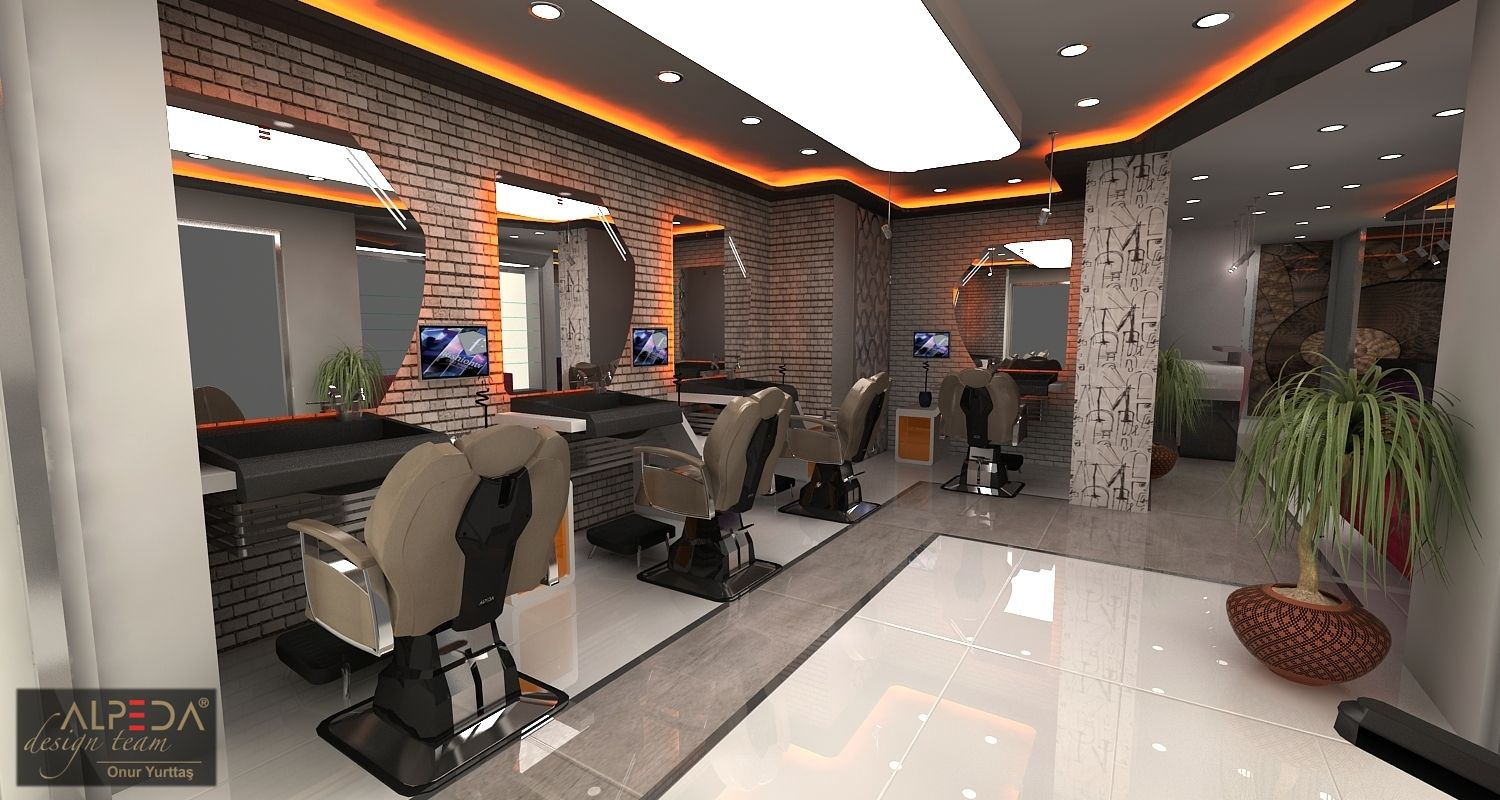 Salon design interior berber salon tasarimi hair for Interieur stylist