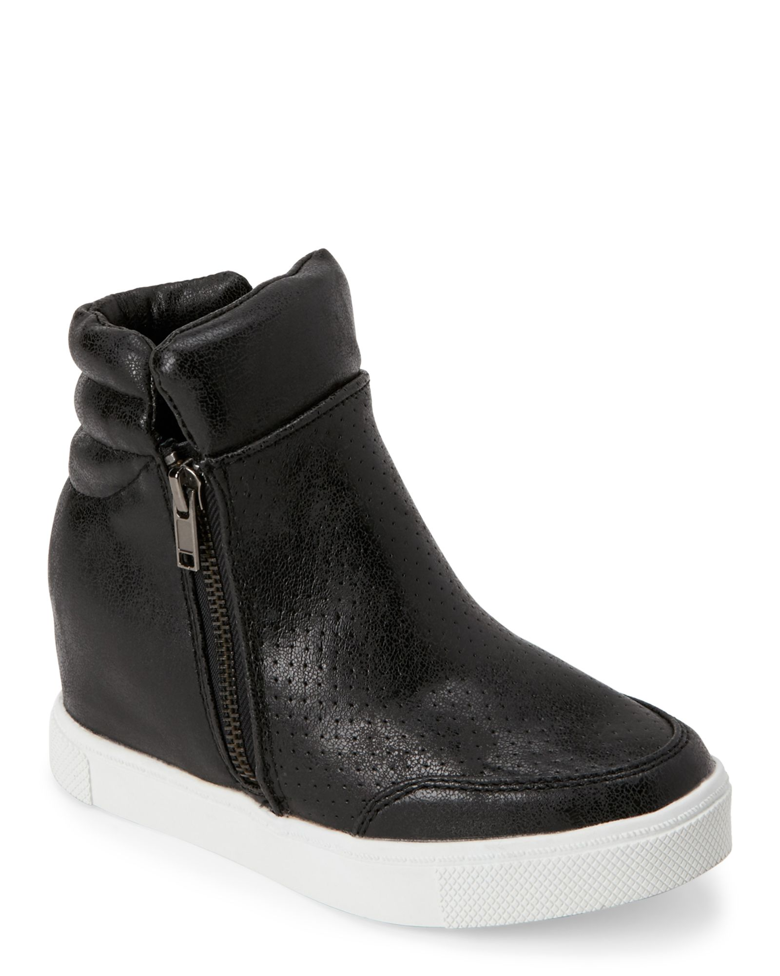 bce12bd40a0 Steve Madden (Kids Girls) Black JLinqsq Perforated Wedge Sneakers ...