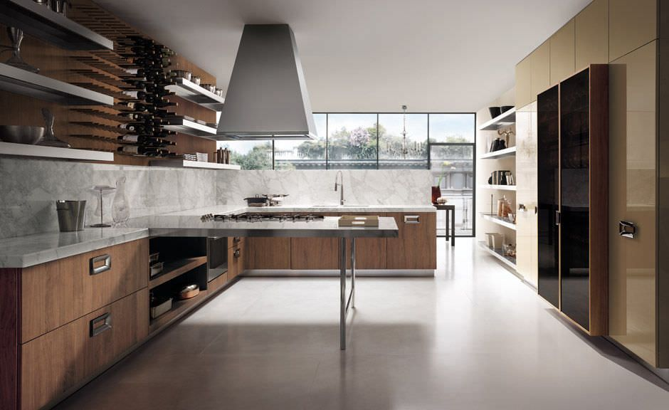 Contemporary wood veneer / marble kitchen by Rodolfo DORDONI - ernestomeda barrique