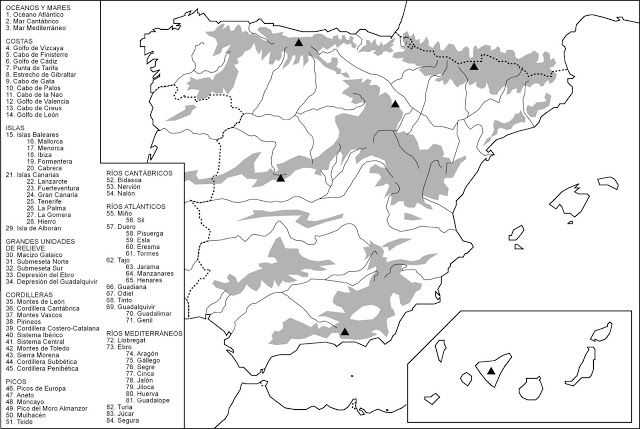 Atlas Geográfico: España física, mudo con nombres. | Mapa del ...