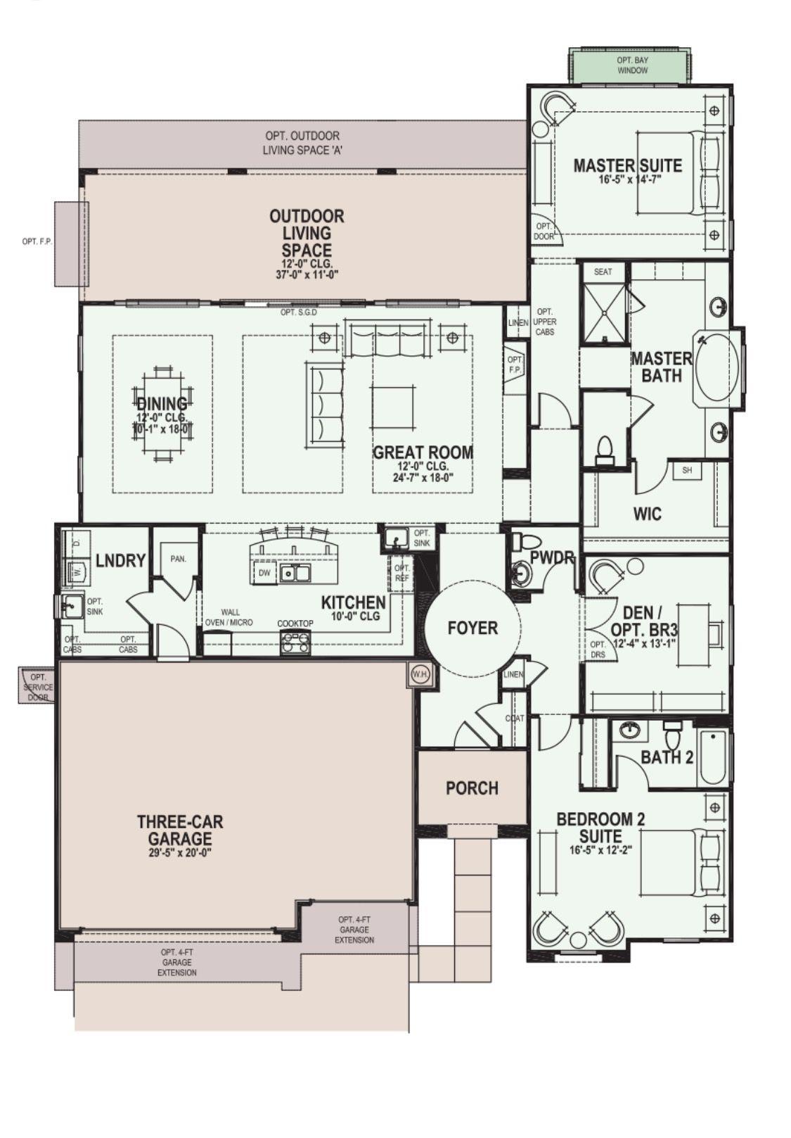 Robson Ranch Rialta Floor Plan Floor Plans Family House Plans Dream House Plans