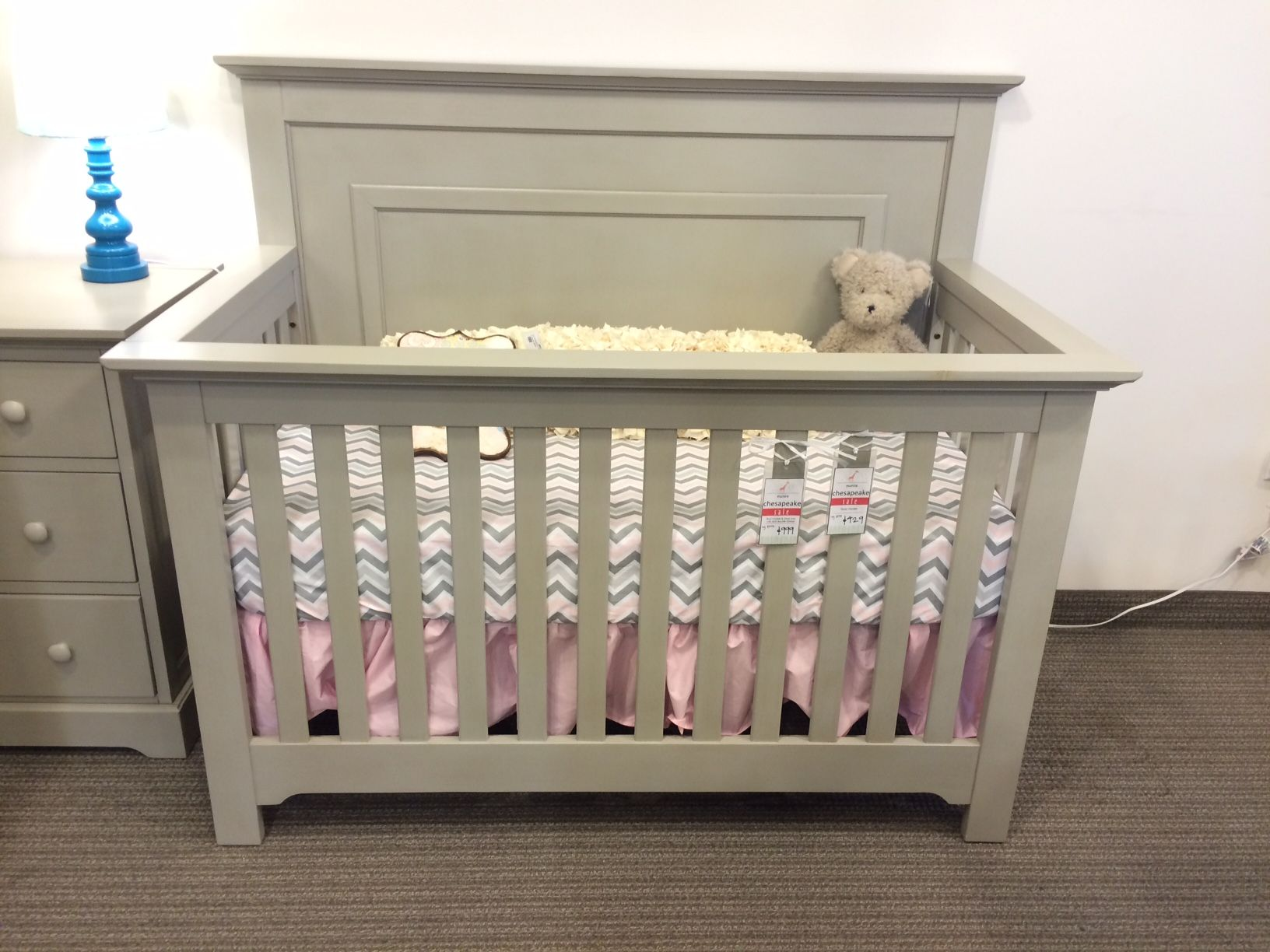 Unfinished crib for sale - Munire Chesapeake Panel Crib In Light Gray Reg 579 Sale 429