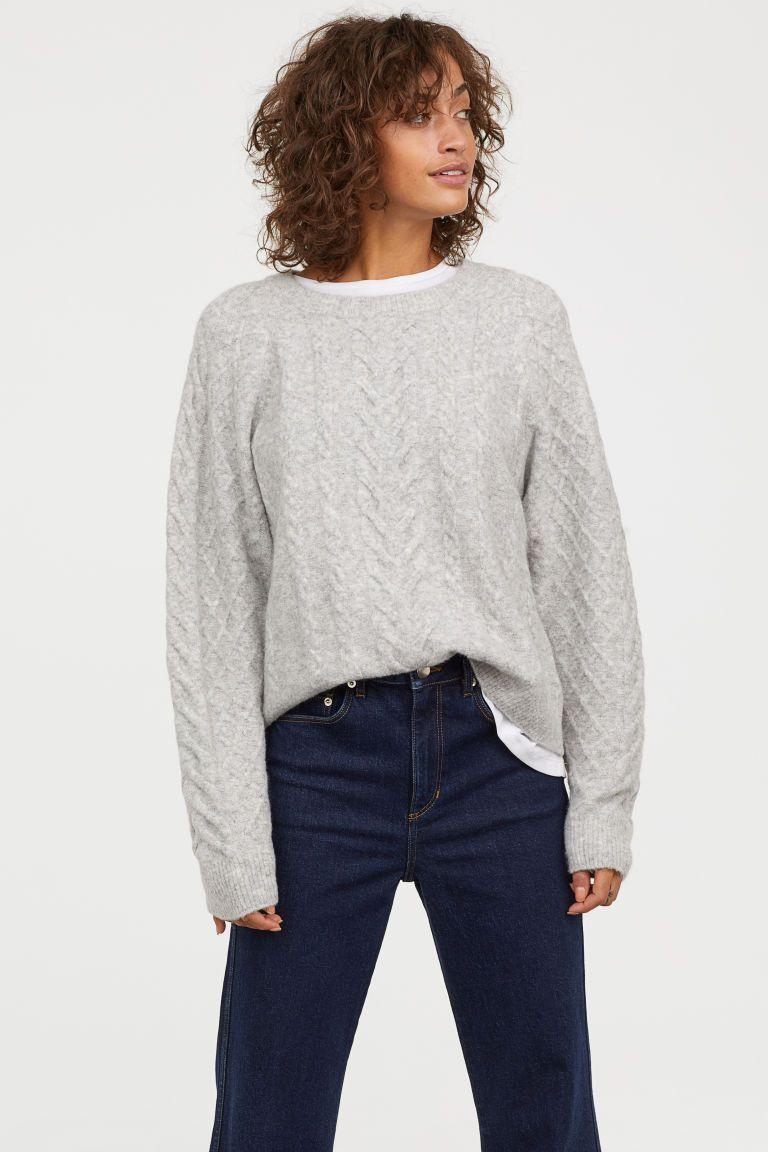 55c2726d48 Cable-knit Sweater - Light gray melange - Ladies