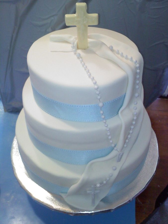 Baby boy baptism cakes different flavor 3 tiered cake covered in white fondant with blue - Baby baptism cake ideas ...