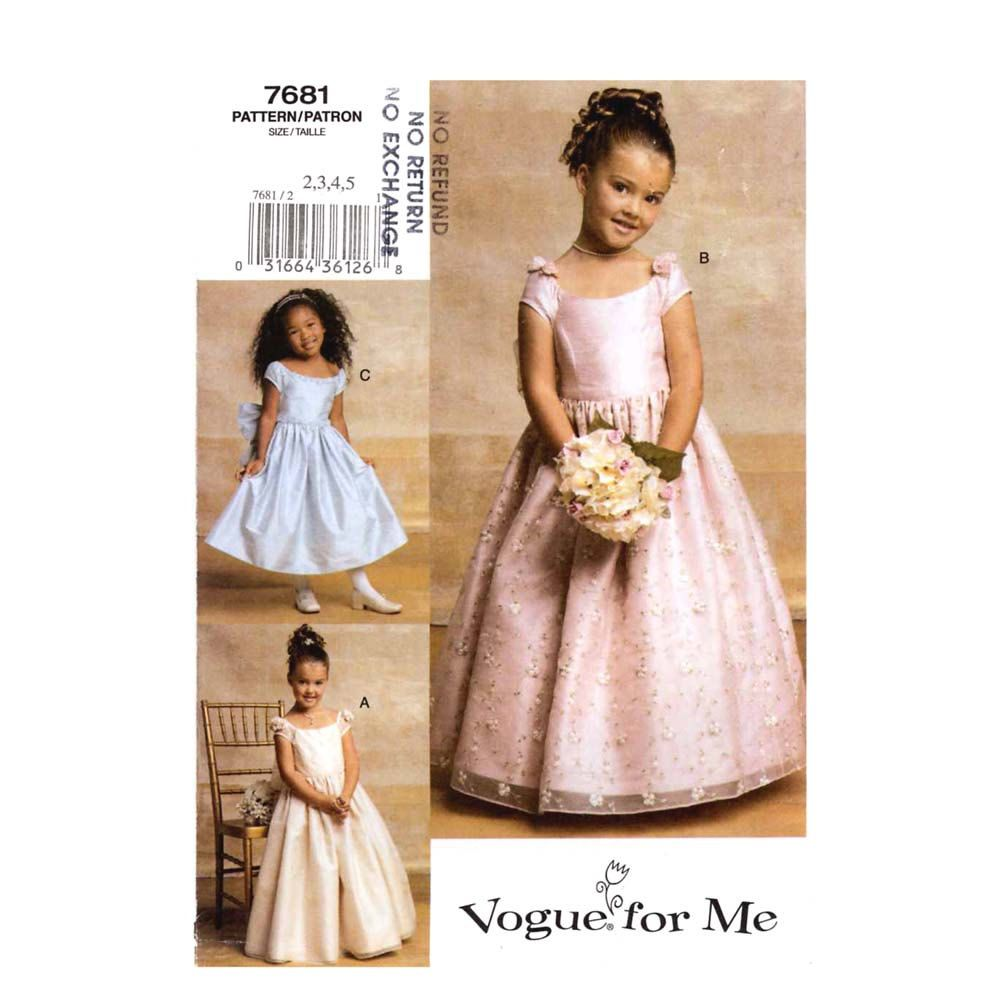 Flower girls dress party sewing pattern Vogue 7681 Sz 2 to 5 ...
