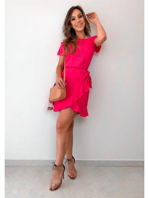 7b8f715e1 Vestido de Viscose Andressa Pink
