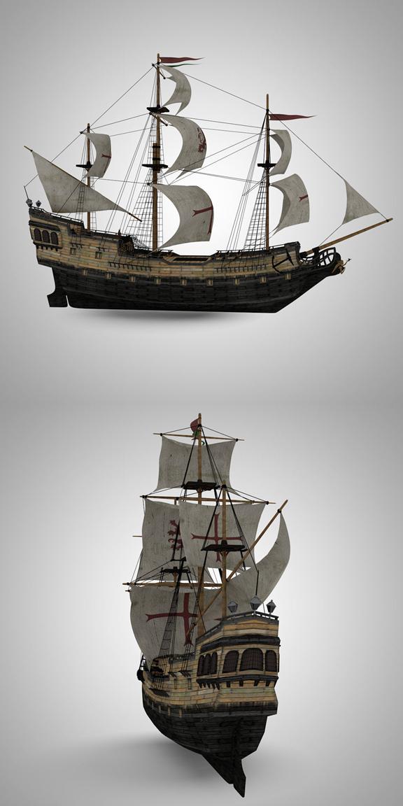 Galleon Sailing Pirate Ship Black Pearl 3d Model Old Sailing
