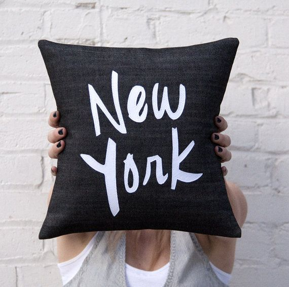 New york pillow black and white 12x12 inches by brightjuly on etsy 55 00