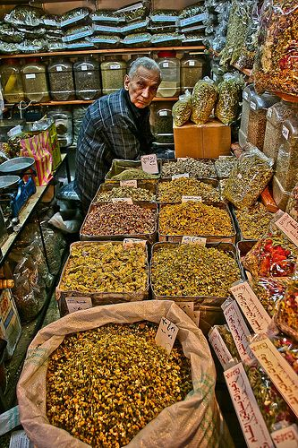 Clay vessels in the spice market of the old town souk of ...   Middle East Spice Market