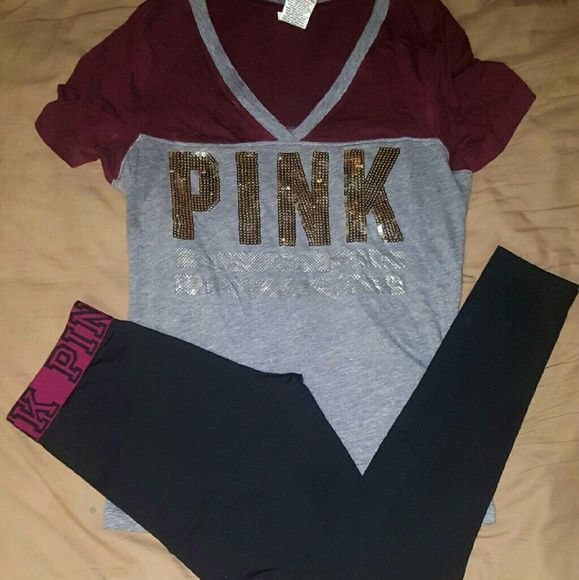 Victoria Secret Pink Sequin/Yoga Set Top is like new size Xs  Bottoms size small great condition PINK Victoria's Secret Tops Tees - Short Sleeve