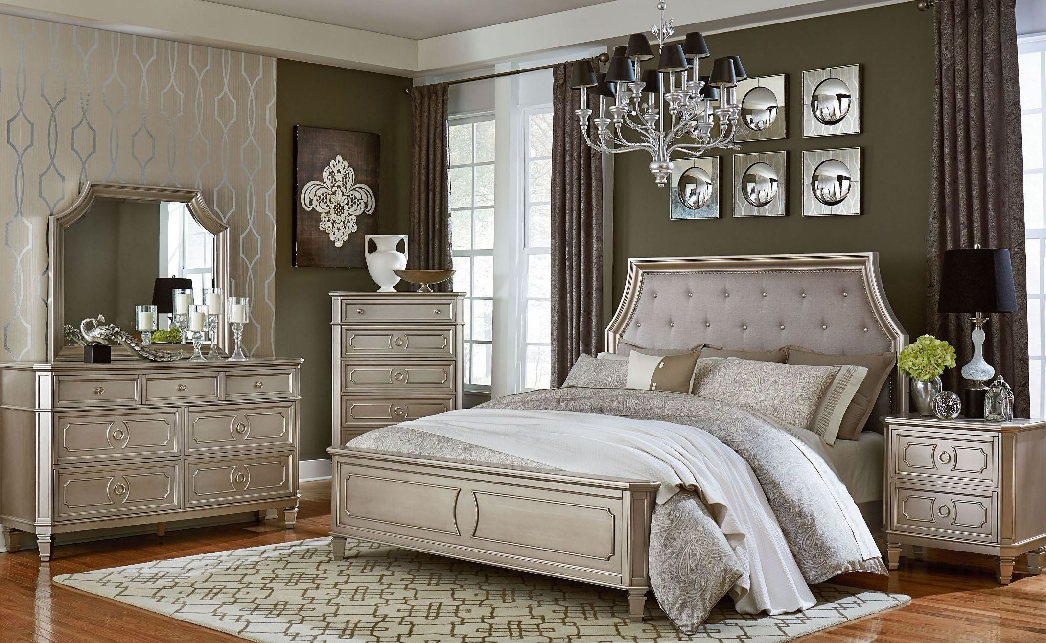 furniture bedroom set. Windsor Silver Panel Bedroom Set  Platinum