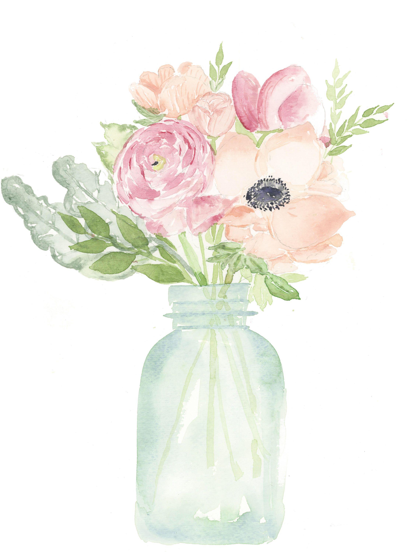 Floral Mason Jar Digital Print In 2020 Watercolor Flowers