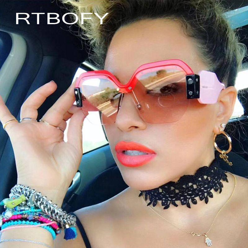 286a72e35e RTBOFY 2018 New Square Sunglasses Women Brand Designer Oversized Vintage  Female Sunglasses Fashion Shades UV400 Eyewear