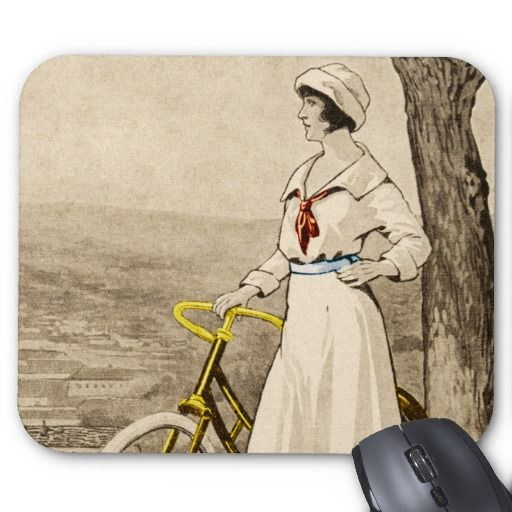 Vintage 1920s Woman Bicycle Advertisement Mouse Pads #vintage #vintagebicycle #vintageads #twopedalprints