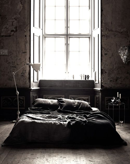 bedroom brick wall lamps window interior home style