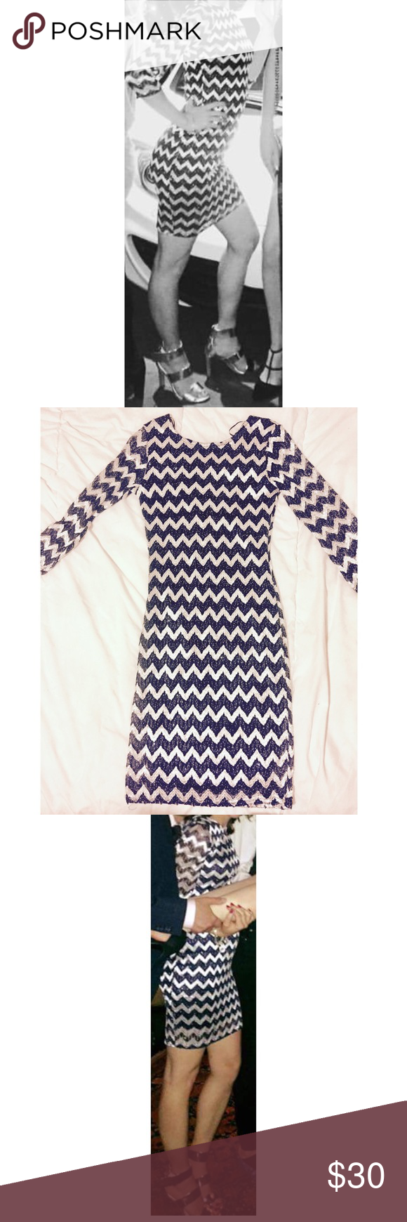 Blue And Silver Zig Zag Design Dress. Beautiful! Just above the knees. EXTREMELY sparkly blue and SILVER zig•zag design striped dress. Too cute!! Only been worn once for a couple of hours, so like new condition. Purchased from LF in LA. LF Dresses Mini