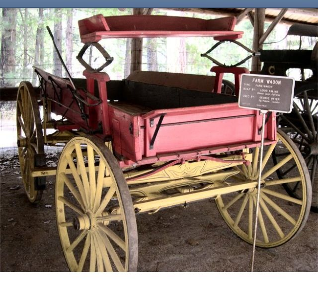 Farm Wagon  Built by Louis Egling, Chinese Camp, California. Used by George Meyer, Big Meadow, Yosemite. Gift of Horace Meyer.