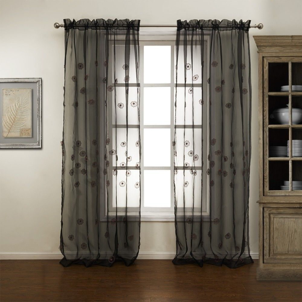 Superbe Floral Country Black Sheer Curtains #sheer #sheercurtain #custommade # Curtains #homedecor