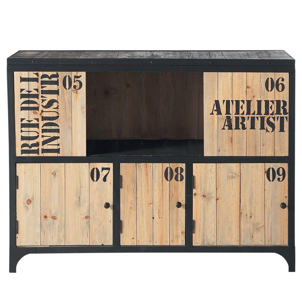 Buffet En M Tal Noir L 110 Cm Buffet Metal Maison Du Monde Et  # Meuble Rangement Noir Bois