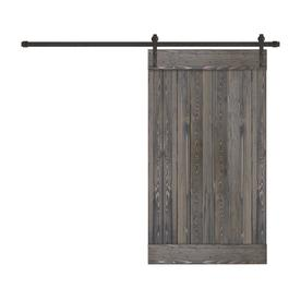 Creative Entryways Sliding Barn Door Charcoal Stained 1 Panel Wood Pine Barn Door Hardware Included Common 40 In X 84 Barn Door Hardware Entryway Types Of Doors