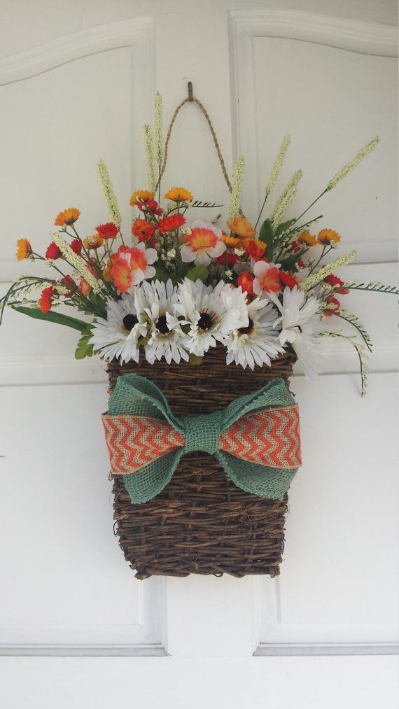 Hanging floral Basket, Flower Basket, Cottage Decor ... on Decorative Wall Sconces For Flowers Hanging Baskets Delivery id=12454