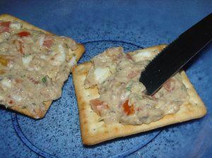 Patê de Sardinha  2 latas de sardinha  2 tomates pequenos  2 ovos cozidos  1 c. sopa de orégano  1 c. sopa de salsinha  1 pitada de sal  3 c. sopa cheias de maionese      Tirar as espinhas da sardinha e esmagar com o garfo. Picar os tomates em pedaços miúdos, picar os ovos, misturar os outros ingredientes e servir. Manter na geladeira.