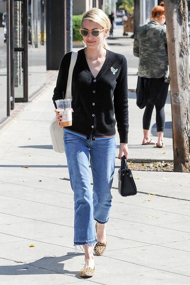 Emma Roberts wearing Jennifer Meyer Circle by the Inch Necklace, Dior Mini Diorever Bag, Garrett Leight Clare V. Sunglasses, Loeffler Randall Prue D'Orday Flats in Cheetah, Coach 1941 V-Neck Cardigan with Rexy Patch and Grlfrnd Joan Crop Flare Jeans in Your So Vain