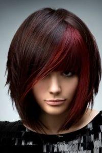 Red highlight on dark hair