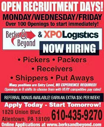 Berks And Beyond Warehouse Jobs Tuition Reimbursement Job