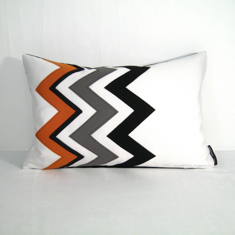 Decorative Orange Pillow Cover Modern Outdoor Pillow Cover Black
