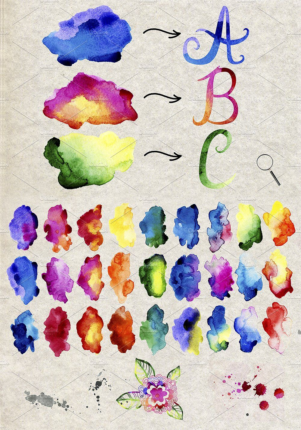 Watercolour Font And Blots Watercolor Font Watercolor