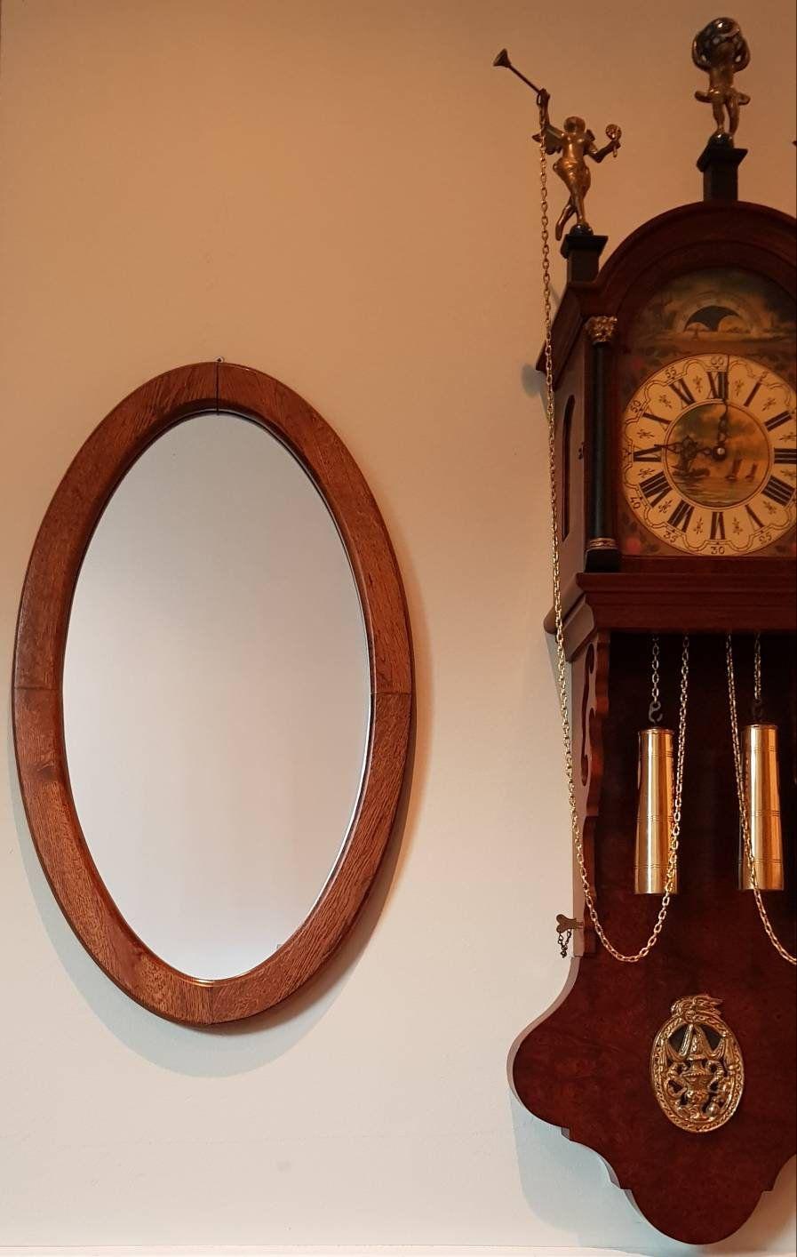 Big Oval Vintage Mirror Nice Wooden Frame Wall Hanging Etsy Vintage Mirror Wall Hanging Wall Mirror Vintage Clock