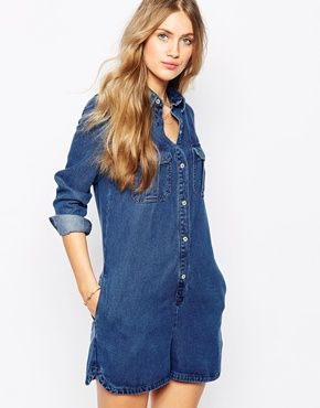 Playsuit by Mango Soft-touch, lightweight natural woven fabric Point collar  Press stud placket through front Chest flap pockets Side and back patch  pockets ... 4d99fde50425
