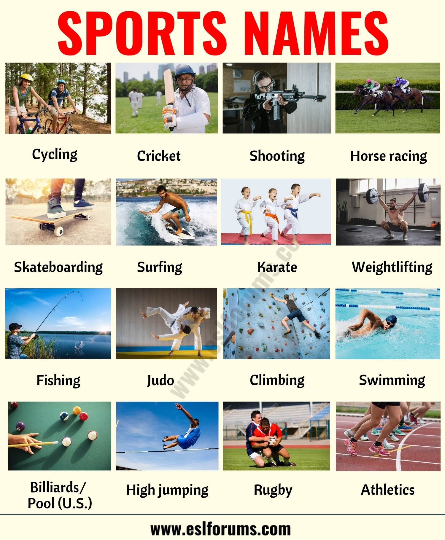 List Of Sports 35 Useful Names Of Sports And Games In