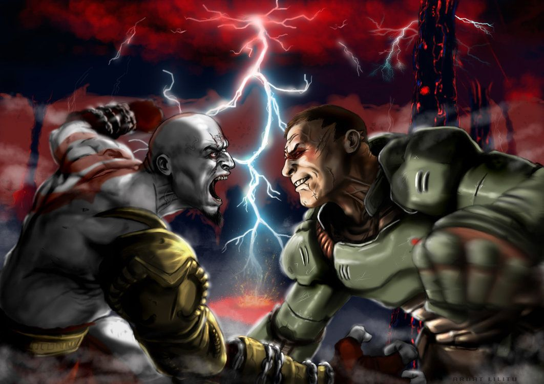 image result for doomguy and samus doom gears of war crossover