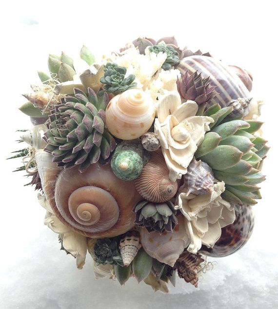 Beach Bridal Bouquet Succulents And Sea Shells