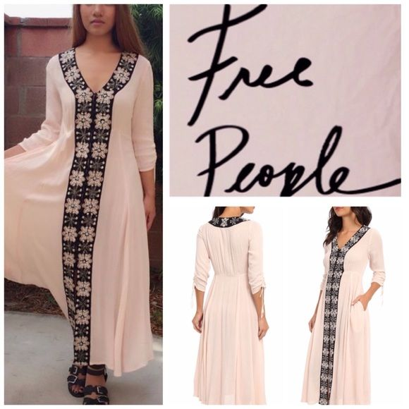 """Free People Soft Pink Embroidered Trim Maxi.  NWT. Free People Shell (Soft Pink) Semi Sheer Gauzy Buttondown Embroidered Panel Maxi Dress, 100% rayon, machine washable, 18"""" armpit to armpit (36"""" all around), 30"""" empire waist, 11.5"""" arm inseam, 49"""" length, V-neck, three-quarter sleeve, button front closure, tied ruching on sleeves, side pockets, measurements are approx.  No PayPal...No Trades... Free People Dresses Maxi"""