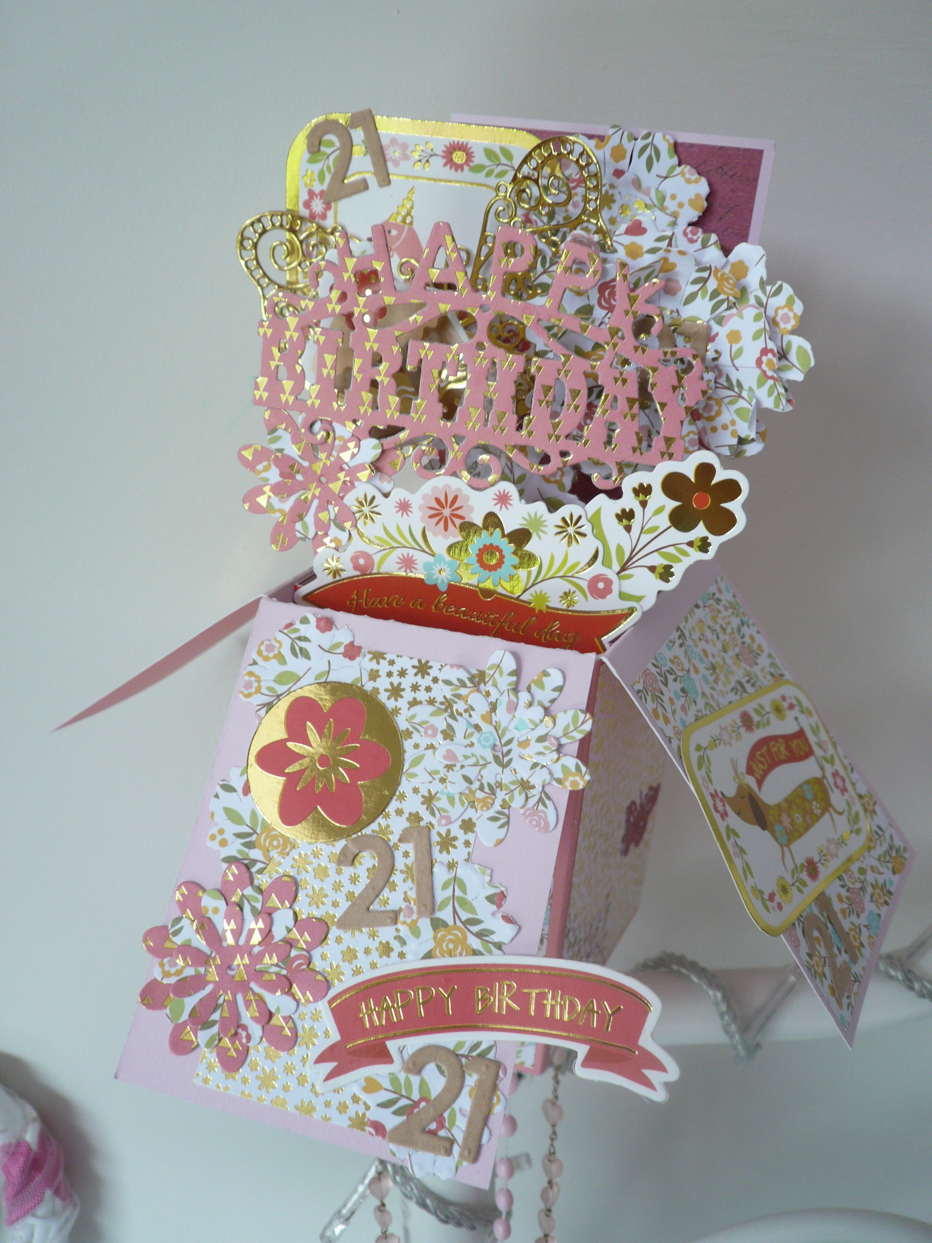 Birthday pop up card cardsin a box pinterest exploding boxes