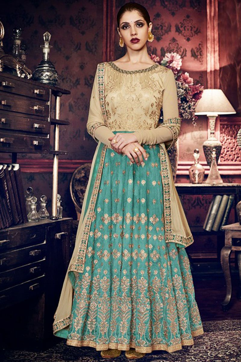 Beige and blue traditional wear designer embroidered festival wear