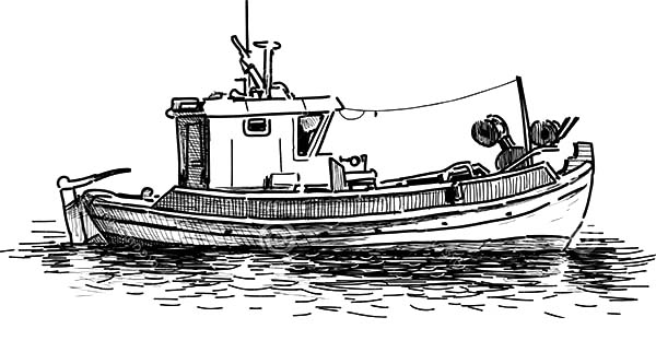 Sketch Of Fishing Boat Coloring Pages Kids Play Color Boat Vector Boat Drawing Fishing Boats