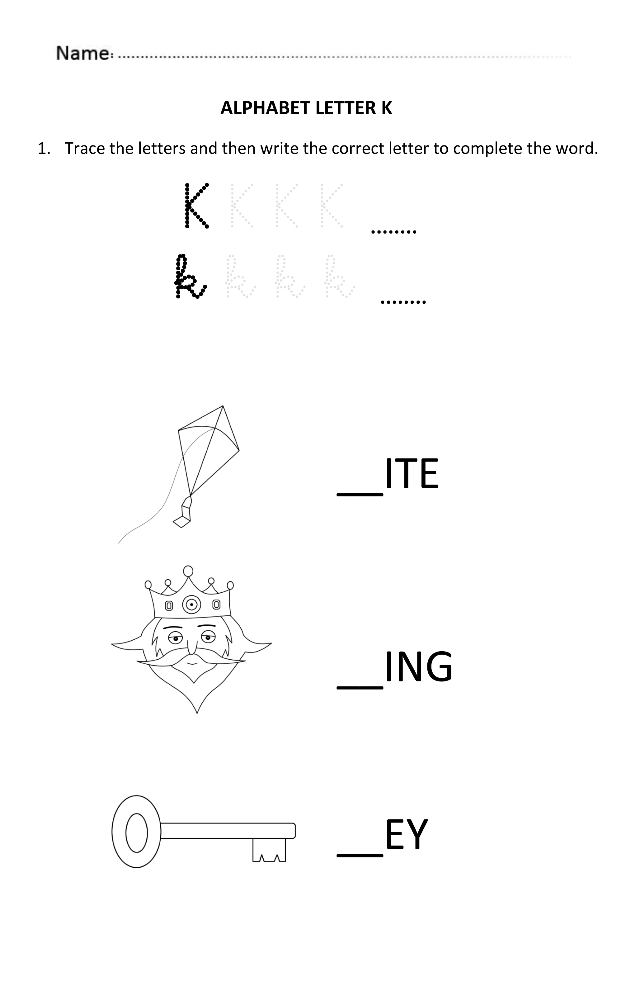 Learning And Writing Letter K For 5 And 6 Years Old