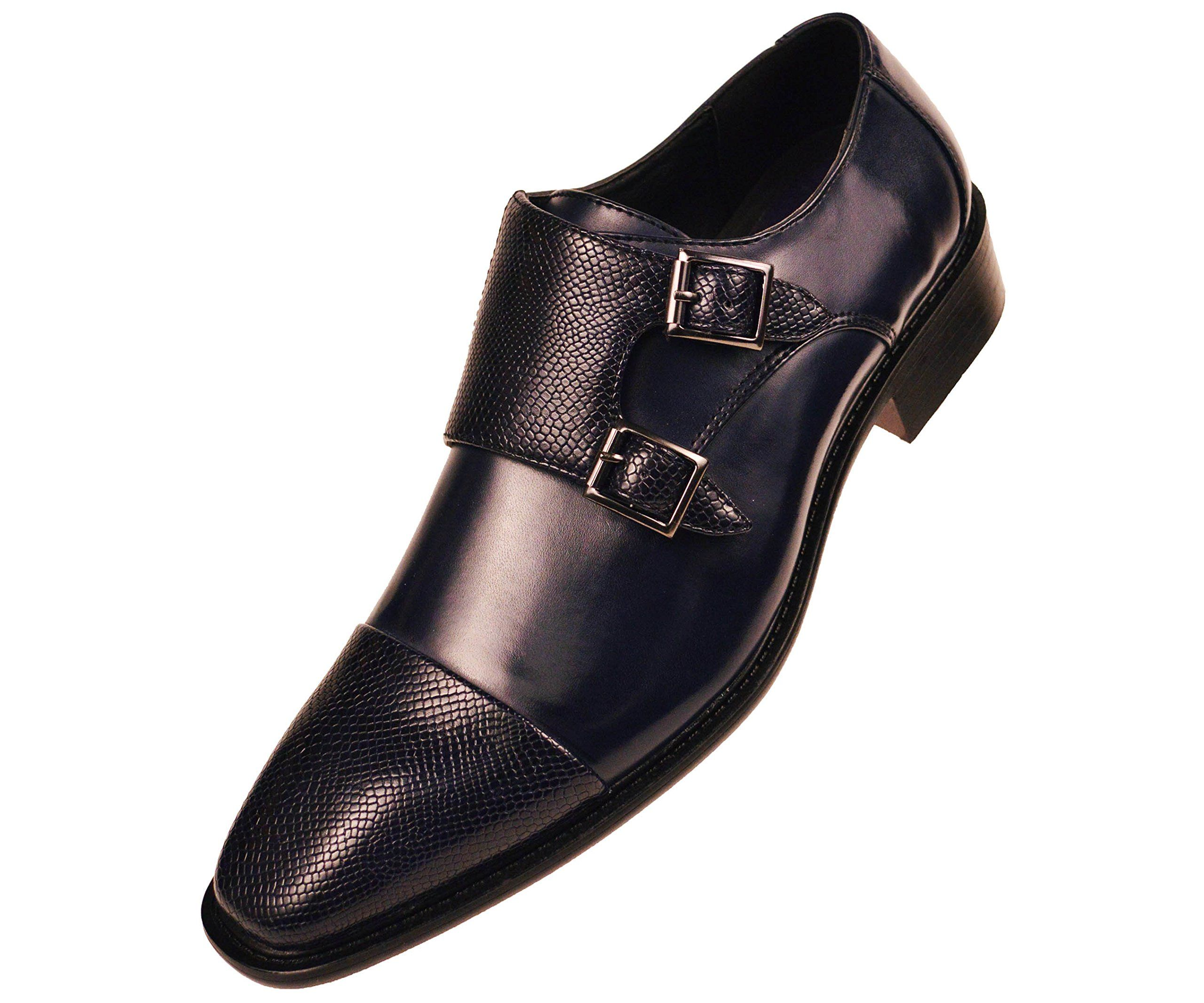 Bolano Mens Navy Blue Smooth Double Monk Strap Dress Shoe